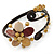 Semiprecious Beaded 'Flower' Flex Bangle Bracelet in Brown/ Cream Tone - Adjustable - view 8