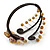 Semiprecious Beaded 'Flower' Flex Bangle Bracelet in Brown/ Cream Tone - Adjustable - view 6
