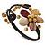 Semiprecious Beaded 'Flower' Flex Bangle Bracelet in Brown/ Cream Tone - Adjustable