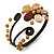 Semiprecious Beaded 'Flower' Flex Bangle Bracelet in Brown/ Cream Tone - Adjustable - view 2