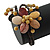 Semiprecious Beaded 'Flower' Flex Bangle Bracelet in Brown/ Cream Tone - Adjustable - view 10