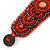 Handmade Boho Style Beaded, Shell Wristband Bracelet (Orange, Red, Hematite) - 18cm L - view 6