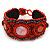 Handmade Boho Style Beaded, Shell Wristband Bracelet (Orange, Red, Hematite) - 18cm L - view 2