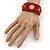 Handmade Boho Style Beaded, Shell Wristband Bracelet (Orange, Red, Hematite) - 18cm L - view 3