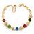Multicoloured Autstrian Crystal, Heart Bracelet In Gold Plating - 18cm L/ 6cm Ext