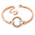 Cz, Clear Crystal Open Cut Eternity Circle of Love Bangle Bracelet In Rose Gold Metal - 17cm L/ 5cm Ext