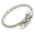 Bridal/ Wedding/ Prom Clear Crystal, White Glass Pearl Flex Bracelet In Rhodium Plating - Adjustable - view 8