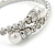 Bridal/ Wedding/ Prom Clear Crystal, White Glass Pearl Flex Bracelet In Rhodium Plating - Adjustable - view 3