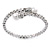 Bridal/ Wedding/ Prom Clear Crystal, White Glass Pearl Flex Bracelet In Rhodium Plating - Adjustable - view 7