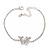 Delicate Clear Crystal Butterfly Bracelet In Silver Tone Metal - 16cm L/ 5cm Ext