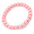 8mm Light Pink Pearl Style Single Strand Bead Flex Bracelet - 18cm L
