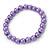 8mm Purple Pearl Style Single Strand Bead Flex Bracelet - 18cm L