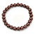 8mm Chocolate Brown Pearl Style Single Strand Bead Flex Bracelet - 18cm L - view 5