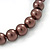 8mm Chocolate Brown Pearl Style Single Strand Bead Flex Bracelet - 18cm L - view 4