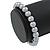 8mm Grey Pearl Style Single Strand Bead Flex Bracelet - 18cm L - view 4