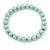 8mm Pale Green Pearl Style Single Strand Bead Flex Bracelet - 18cm L - view 5