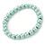 8mm Pale Green Pearl Style Single Strand Bead Flex Bracelet - 18cm L