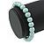 8mm Pale Green Pearl Style Single Strand Bead Flex Bracelet - 18cm L - view 3
