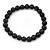 8mm Black Pearl Style Single Strand Bead Flex Bracelet - 18cm L - view 5