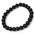 8mm Black Pearl Style Single Strand Bead Flex Bracelet - 18cm L