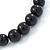8mm Black Pearl Style Single Strand Bead Flex Bracelet - 18cm L - view 4