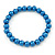 8mm Cobalt Blue Pearl Style Single Strand Bead Flex Bracelet - 18cm L - view 5