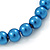 8mm Cobalt Blue Pearl Style Single Strand Bead Flex Bracelet - 18cm L - view 4