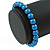 8mm Cobalt Blue Pearl Style Single Strand Bead Flex Bracelet - 18cm L - view 3