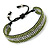 Unisex Olive Green/ Silver Glass Bead Friendship Bracelet - Adjustable