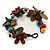 Handmade Multicoloured Leather Flowers, Wood Bead Bracelet with Button and Loop Closure - 16cm L (For smaller wrists) - view 7