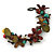 Handmade Multicoloured Leather Flowers, Wood Bead Bracelet with Button and Loop Closure - 16cm L (For smaller wrists) - view 8