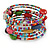 Multistrand Multicoloured Glass and Ceramic Bead Flex Bracelet - Adjustable