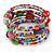 Multistrand Multicoloured Glass and Ceramic Bead Flex Bracelet - Adjustable - view 6