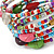 Multistrand Multicoloured Glass and Ceramic Bead Flex Bracelet - Adjustable - view 4