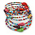 Multistrand Multicoloured Glass and Ceramic Bead Flex Bracelet - Adjustable - view 8