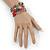 Multistrand Multicoloured Glass and Ceramic Bead Flex Bracelet - Adjustable - view 2
