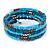 Azure/ Turquoise Stone Bead Multistrand Coiled Flex Bracelet Bangle - Adjustable