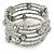 Multistrand Light Grey Glass Bead Flex Bracelet - Adjustable
