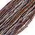 Plum/ Transparent/ Purple Glass Bead Multistrand Flex Bracelet With Wooden Closure - 19cm L - view 3