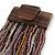 Plum/ Transparent/ Purple Glass Bead Multistrand Flex Bracelet With Wooden Closure - 19cm L - view 6