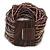 Plum/ Transparent/ Purple Glass Bead Multistrand Flex Bracelet With Wooden Closure - 19cm L - view 9