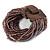 Plum/ Transparent/ Purple Glass Bead Multistrand Flex Bracelet With Wooden Closure - 19cm L - view 7