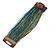 Apple Green/ Blue/ Light Brown/ Peacock Glass Bead Multistrand Flex Bracelet With Wooden Closure - 19cm L