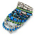 Wide Coiled Ceramic, Acrylic, Glass Bead Bracelet (Green, Blue, Teal, Clear, Silver) - Adjustable - view 6