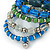 Wide Coiled Ceramic, Acrylic, Glass Bead Bracelet (Green, Blue, Teal, Clear, Silver) - Adjustable - view 4