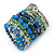 Wide Coiled Ceramic, Acrylic, Glass Bead Bracelet (Green, Blue, Teal, Clear, Silver) - Adjustable - view 7