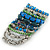 Wide Coiled Ceramic, Acrylic, Glass Bead Bracelet (Green, Blue, Teal, Clear, Silver) - Adjustable - view 8