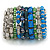 Wide Coiled Ceramic, Acrylic, Glass Bead Bracelet (Green, Blue, Teal, Clear, Silver) - Adjustable - view 5
