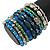 Wide Coiled Ceramic, Acrylic, Glass Bead Bracelet (Green, Blue, Teal, Clear, Silver) - Adjustable - view 3