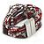 Hematite/ Silver/ Dark Red Glass Bead, Silk Cord Handmade Magnetic Bracelet - 18cm L - view 6